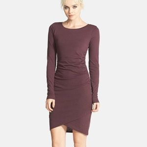 Leith ruched long sleeve plum purple dress stretch